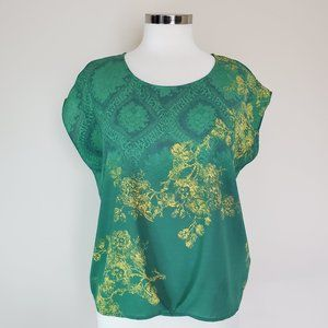 CAbi Small Green Blouse Top Brocade Floral Damask